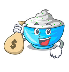 with money bag sour cream in a glass bowl cartoon vector image