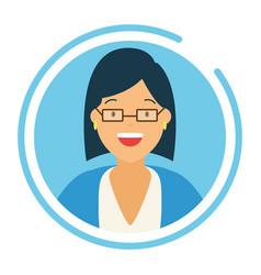 Woman portrait round icon vector