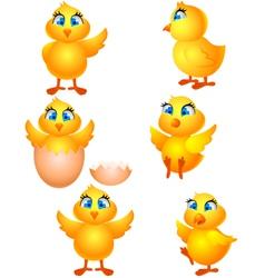 little group chicken cartoon vector image vector image