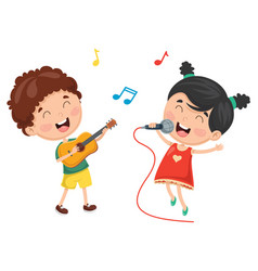 of kids playing music and sing vector image vector image