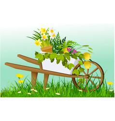 Wheelbarrow and garden plants vector