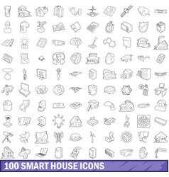 100 smart house icons set outline style vector image vector image