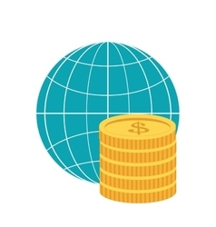 earth globe diagram and coins icon vector image vector image