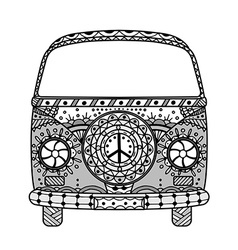 Van in tangle patterns style vector