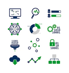 Data analytic icons set vector image