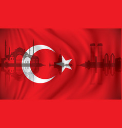 flag of turkey with istanbul skyline vector image