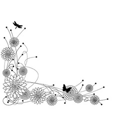 Floral border bw vector image