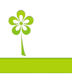 Greeting card with a green flower vector