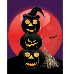 Pumpkins and red moon vector image vector image