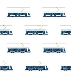 seamless pattern of blue modern tram vector image