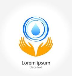 water hand logo vector image