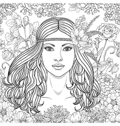 girl hippie outline vector image