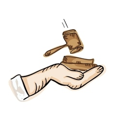 hand holding law hammer vector image