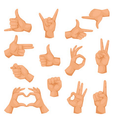 hands showing deaf-mute different gestures vector image