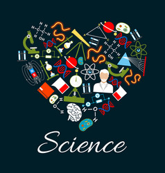 heart with science and research icons vector image vector image