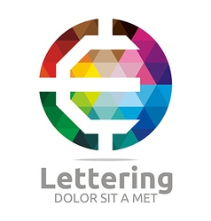Logo Abstract Lettering E Rainbow Alphabet Icon vector image vector image