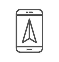 mobile gps navigation line icon vector image