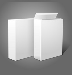 Two realistic white blank paper packages for vector image