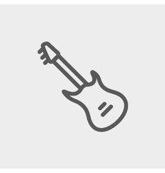 Vintage electric guitar thin line icon vector
