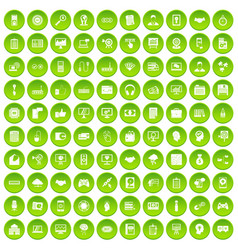100 webdesign icons set green circle vector