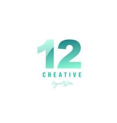 12 twelve green pastel gradient number numeral vector