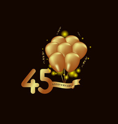 45 year anniversary gold balloon template design vector