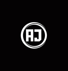 Aj logo initial letter monogram with circle slice vector