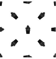 Aloe vera plant pattern seamless black vector