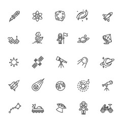 astronomy astrology and space line icons vector image