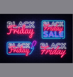 big neon signs for black friday neon vector image