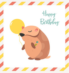 birthday card with hamster and balloon vector image