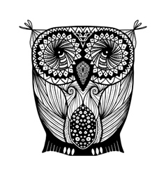 Black and white owl style zentangle vector