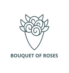 bouquet roses line icon bouquet of vector image