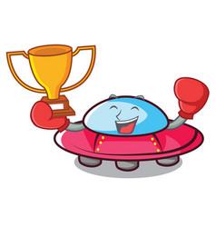 Boxing winner ufo mascot cartoon style vector