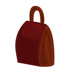 Brown backpack icon cartoon style vector