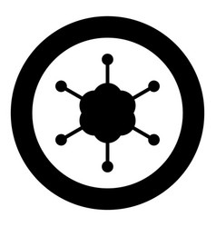 business network icon black color in circle or vector image