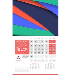 Calendar for 2016 Year February Design Clean vector