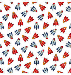 cartoon rockets on white background vector image