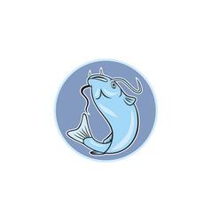 Catfish jumping circle cartoon vector