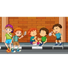 Children smoking and doing drugs on the street vector image