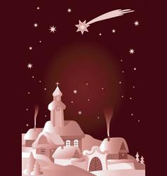 christmas village winter night laqndscape vector image