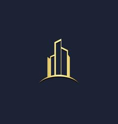 Cityscape building gold logo vector