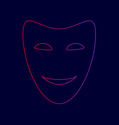 comedy theatrical masks line icon with vector image