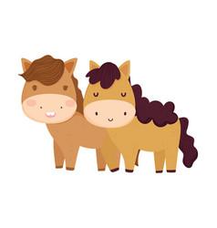 cute couple horse tree sun farm animal cartoon vector image