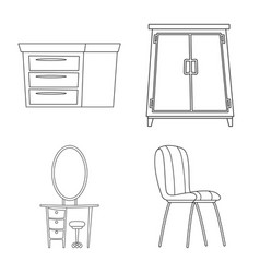 design of furniture and apartment sign set vector image