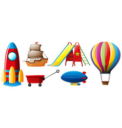 different types of transportations and toys vector image