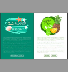 discount summer sale posters with marine seashell vector image