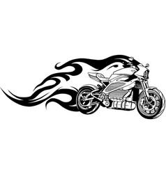 draw in black and white motorcycle racing on vector image