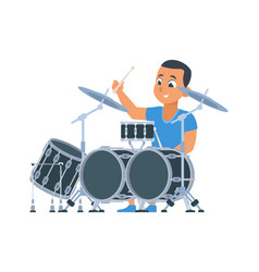 Drummer cartoon boy with percussion musical vector