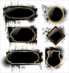 elegant labels on grunge background vector image